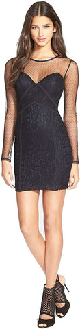 ASTR Women's Paneled Body-Con Dress - Size Small, Black