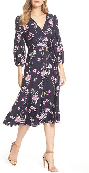 Eliza J Women's Floral Print Wrap Dress, Size 16 - Blue