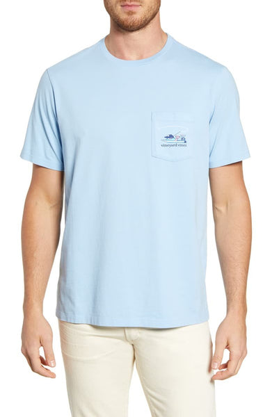 Vineyard Vines Men's Fishing Whale Pocket T-Shirt, Size Medium - Blue