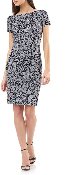 JS Collections Women Soutache Cocktail Dress | Size - 10 | Navy/Gray