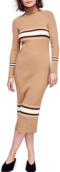 Free People Sport Stripe Midi Sweater Dress Women's, Size Small - Beige