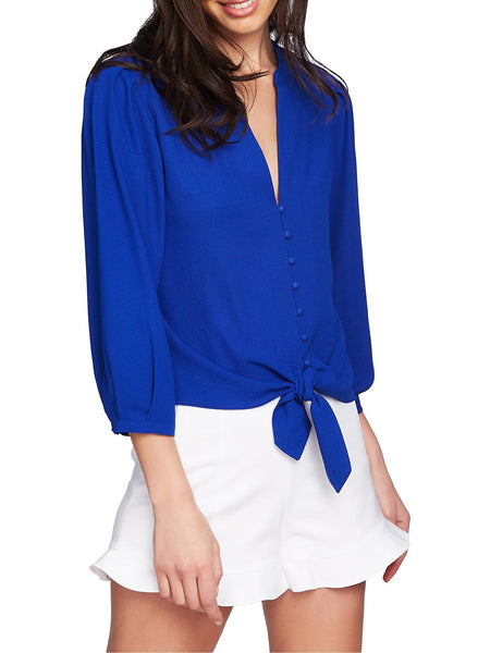 1.STATE Split Neck Tie Hem Blouse