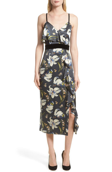 Cinq a Sept Leena Floral Print Dress - Size 12, Black