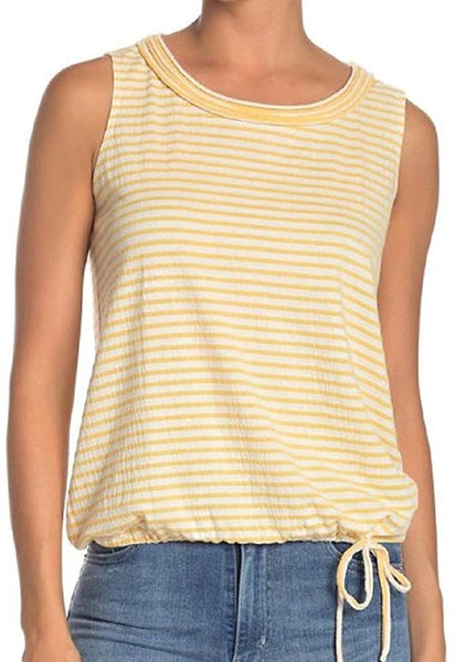 Max Studio Women's Stripe Print Cinched Drawstring Tank Top - Small - Yellow