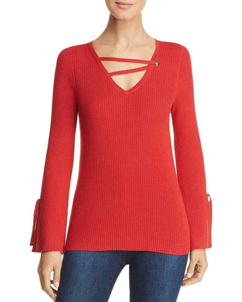Design History Ribbed Strappy V Neck Sweater