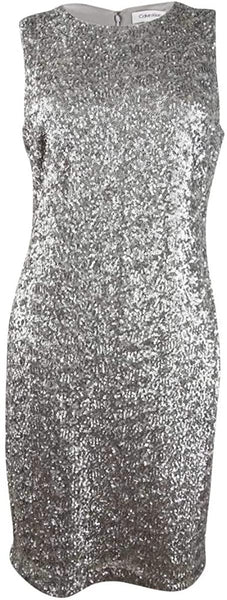 Calvin Klein Womens Metallic Sequined Sheath Dress