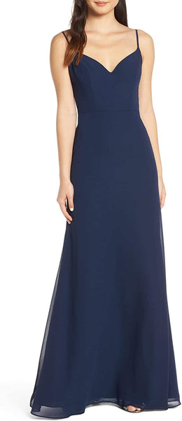 Hayley Paige Occasions V-Neck Chiffon Evening Dress, Size 10, Indigo