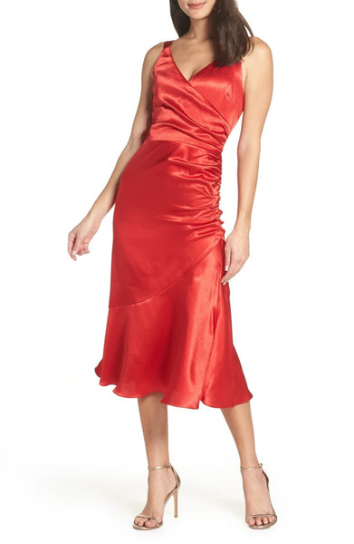 Chelsea28 Ruched Midi Dress, Red, Medium