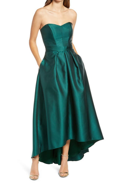 ALFRED SUNG Women Strapless High/Low Ballgown | Size - 14 | Hunter