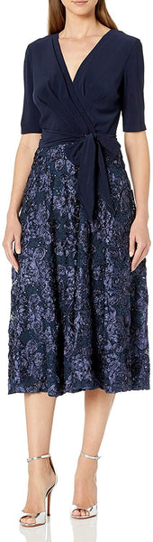 Alex Evenings Women's Tea Length Dress with Rosette Detail Tie Front | 18 | Navy