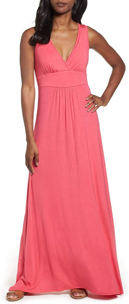 Loveappella Women's V-Neck Jersey Maxi Dress - Size Medium, Pink