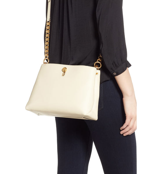 Lily Chain Leather Crossbody Bag TORY BURCH Cream