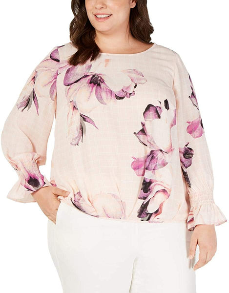 Alfani Womens Plus Smocked Floral Blouse