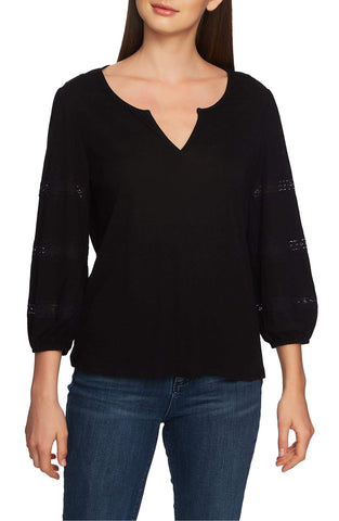 1.STATE Split Neck Lace Trimmed Knit Top