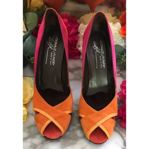 Donald J. Pliner Zay Colorblock Peep Toes Heels - Size 7, Orange/Pink