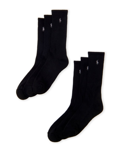 Polo Ralph Lauren Men 6-Pack Embroidered Logo Crew Socks | ONE - SIZE | Black