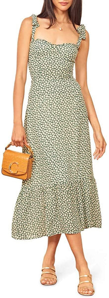 Reformation Women's Nikita Midi Dress, Size 12 - Green