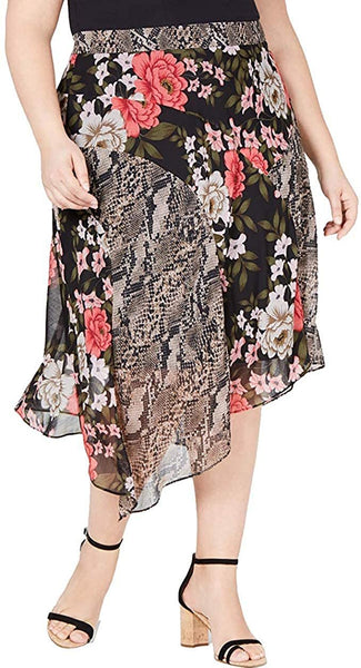 INC Womens Plus Floral Snake Print Midi Skirt Black 22W