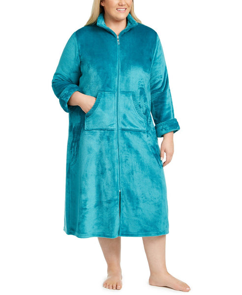 Miss Elaine Women Fleece Long Zipper Robe Plus Size | Size - 1X | Color - Jade