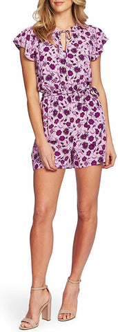 CeCe by Cynthia Steffe Purple Floral Print Romper, Purple, Size: Large