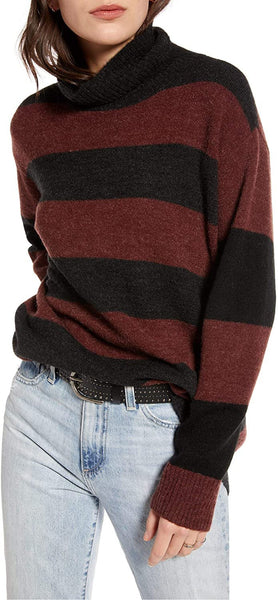 TREASURE & BOND Women's Wide Stripe Tunic Sweater - Size X-Small | Burgundy