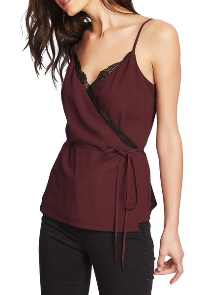 1.State Women Surplice V-neck Lace Trim Wrap Camisole | Size - Small | Warm Plum