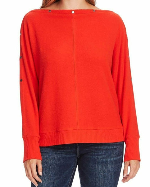 Vince Camuto Women Snap Trim Dolman Sleeve Sweater | Size - XS | Red