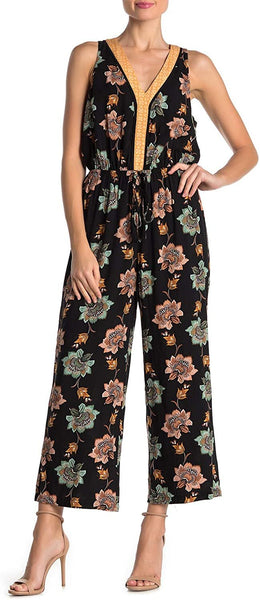 DR2 by Daniel Rainn Floral Border Print Sleeveless Jumpsuit - Sze Small, Black