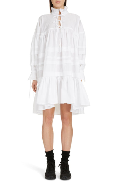 Women's Cecilie Bahnsen Macy Pleated Oversized Shirt dress, Size 6, White