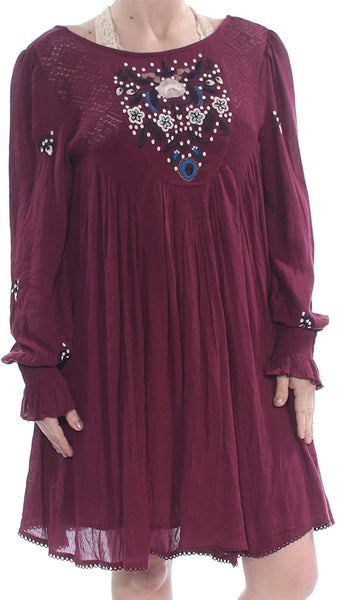 Free People Women's Mohave Embroidered Daytime Mini Dress Purple M