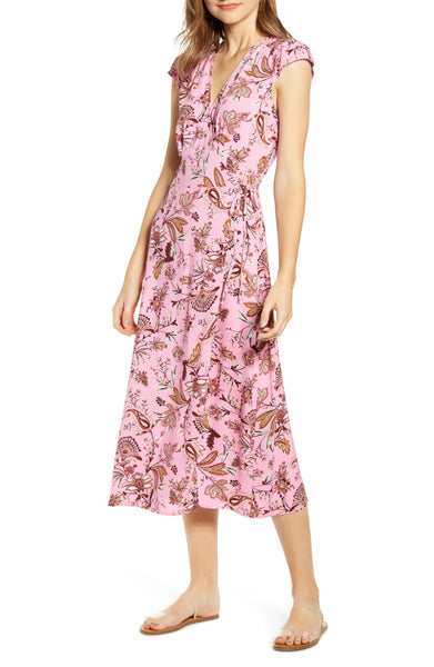 love, FiRE Womens Floral Paisley Midi Wrap Around Floral Dress - Size Small, Pink