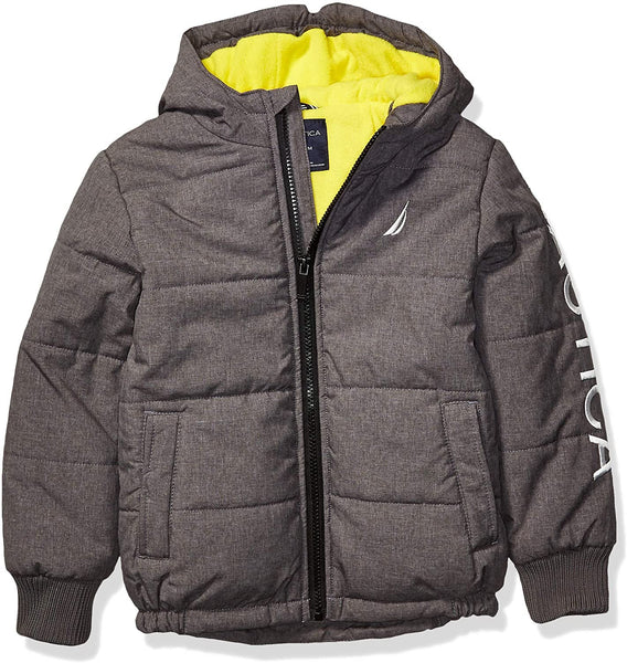 Nautica Boys' Fleece Lined Hooded Bubble Jacket | XL Child Size 7| Coal Heather