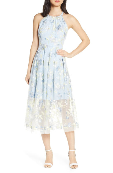 Vince Camuto Embroidered Halter Neck Mesh Midi Dress - 18W