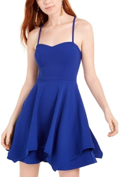 Sequin Hearts Women Layered Fit & Flare Dress Juniors' | Size - 5 | Royal Blue