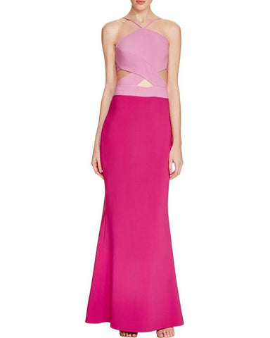Maria Bianca Nero Women's Kendall Jenner Cut Out Colorblock Evening Dress