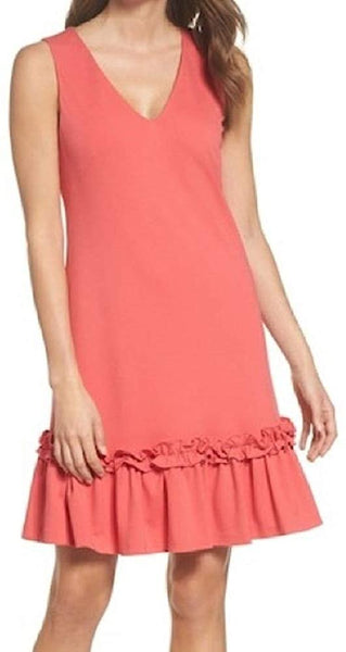 Chelsea28 Ruffle Hem Sheath Dress, Size 10 - Coral