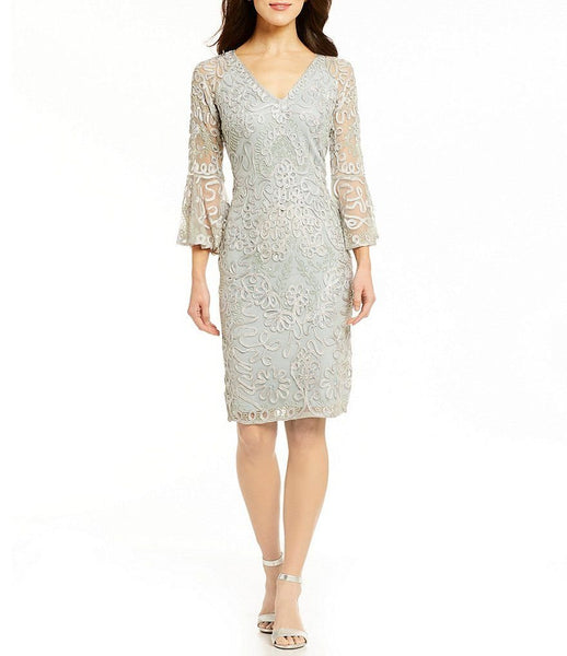 JS Collections Women V-Neck 3/4 Bell Sleeve Dress | Size - 12 | Pale Green