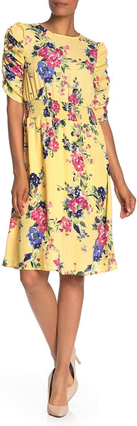 Bobeau Floral Print Ruched Sleeve Dress - Size X-Small, Yellow