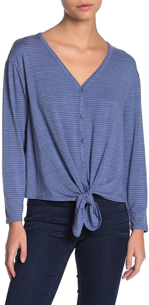 Everleigh Women's Tie Hem V-Neck Stripe Top - Size Medium | Denim Blue