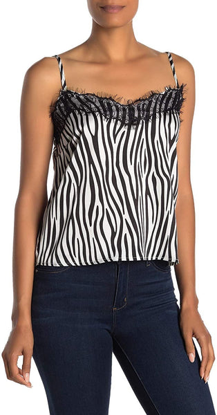 CODEXMODE Women Sweetheart Neck Woven Lace Camisole | Size - Small | Zebra Print Black/White