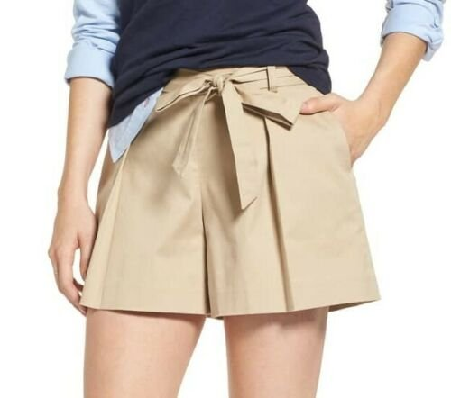 1901 Pleated Twill Bow Front Women's Shorts, Size 12, Beige