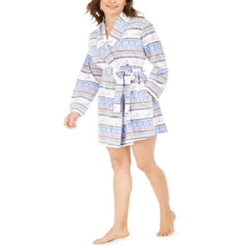 Muk Luks Women's Cozy Short Fleece Robe | Size - Large | Jumping Deer Fairisle