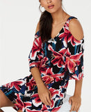 Connected Petite Floral Printed Cold-Shoulder Dress, Berry, 6