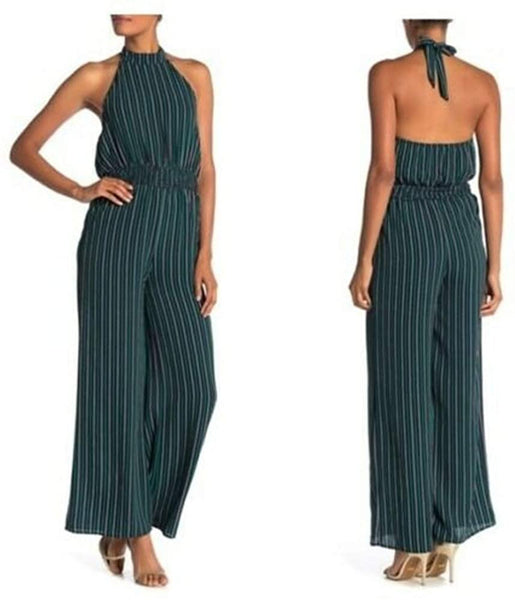 Superfoxx Women's Striped Halter Jumpsuit, Size X-Large, Green