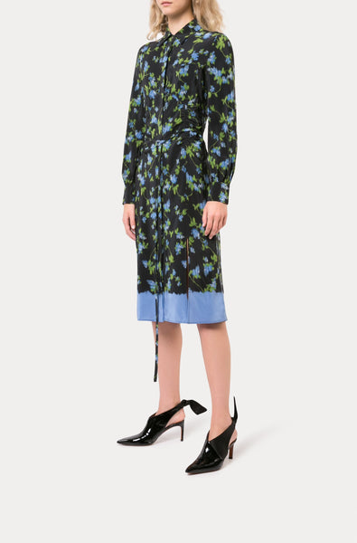Altuzarra Cut-Out Long sleeves Classic collar floral printed Dress, Black Size 2