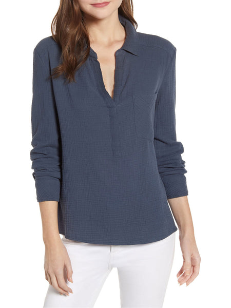 1.STATE Cotton Split Neck Shirt