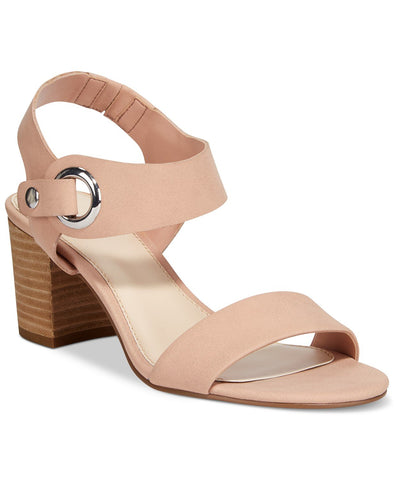Bar III Birdie City Two-Piece Block-Heel Sandals, Blush, Size 7.0