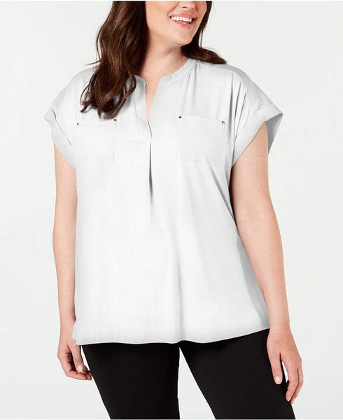 Calvin Klein Women's Plus Size Split-Neck Pocket Top - Size 3X, White