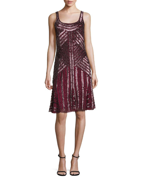 Theia Sequin Scoopback Cocktail Evening Dress