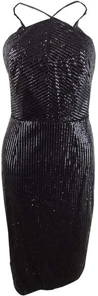 Adrianna Papell Womens Sequined Midi Halter Dress